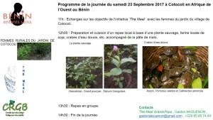 Programme de la journée du samedi 23 Septembre 2017 à Cotocoli en Afrique de l'Ouest au Bénin